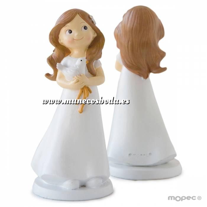 Imagen Figuras de Comunión Figura Tarta Comunión Niña con paloma en manos 16cm