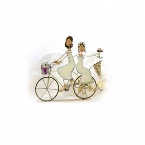 Novios Tarta Modernos - Novios Tarta Metal 2 chicas en Bicicleta
