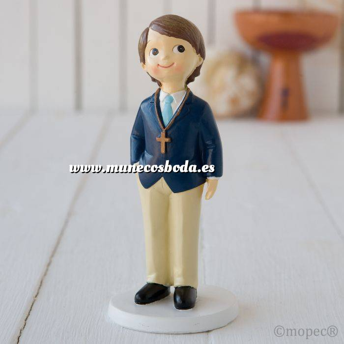 Imagen Figuras de Comunión Figura Pastel NIÑo comunion americana azul