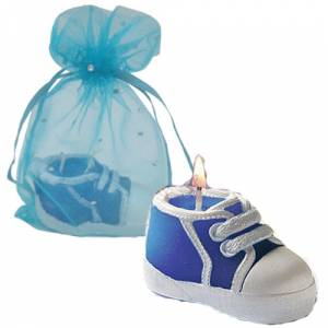 Detalles de Bautizo - Vela Zapatilla en bolsa de organza azul (Últimas Unidades)